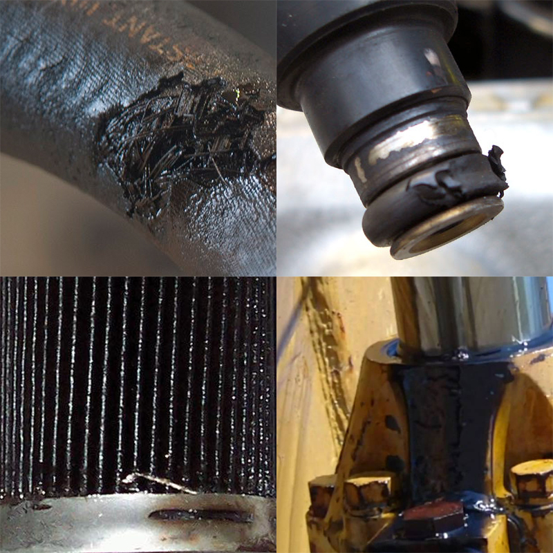 detect hose, o ring, filter, and cylinder hydraulic contamination